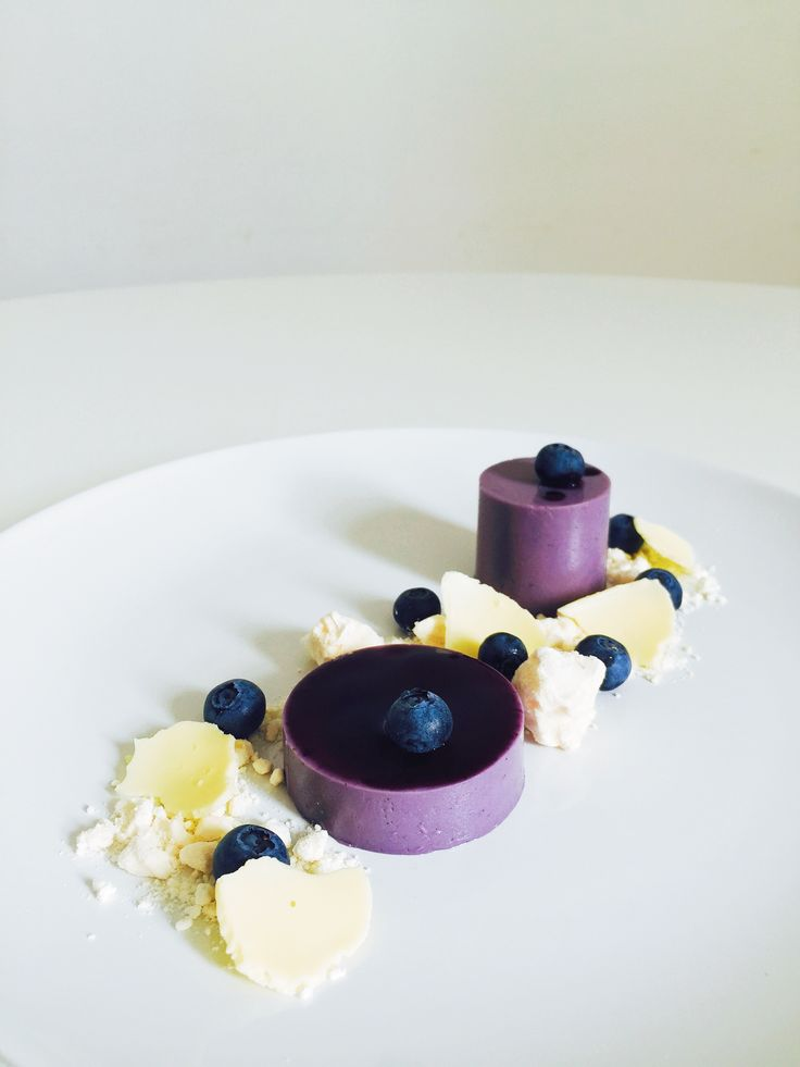 Blueberry & Violet Panna Cotta with French Meringue and White Chocolate…