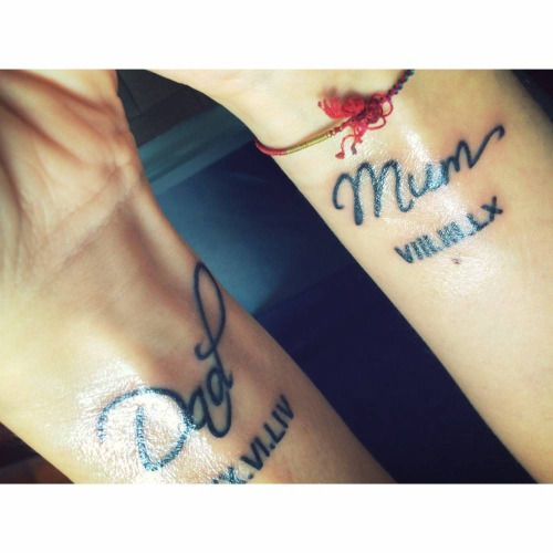 dad and mum tattoo on andreas wrists wrist tattoos pinterest mum tattoo tattoo and wrist. Black Bedroom Furniture Sets. Home Design Ideas