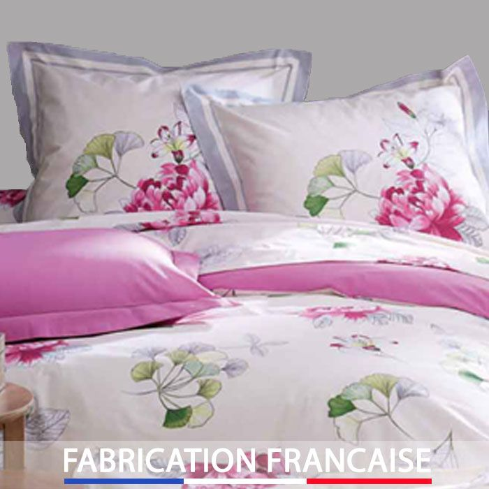 housse de couette 240x260 fleur aquarelle 2 taies d. Black Bedroom Furniture Sets. Home Design Ideas