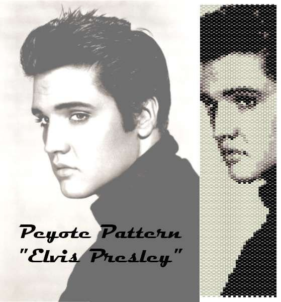 "Peyote pattern  for bracelet cuff  ""Elvis Presley"""