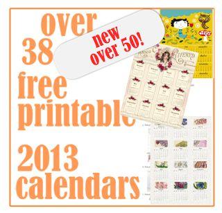 ☞ ☞ More than 50 free printable 2013 calendars – kostenlos ausdruckbare Kalender 2013 | MeinLilaPark – digital freebies