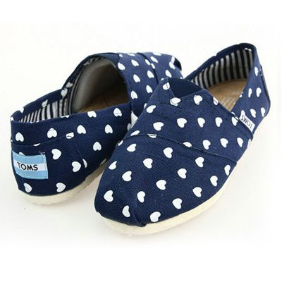 Toms Womens Hearts Classic Shoes Blue
