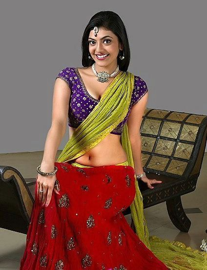 "Kajal Agarwal Hot Navel and Cleavage Show in Saree | ""Tamil South"" - Tamil Cinema Portal"