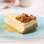 Nectarine Cheesecake with Pistachio Brittle Recipe | MyRecipes.com
