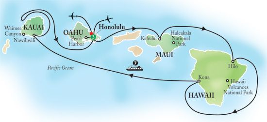 norwegian cruise line route on pride of america | NCL cruise ship Pride of America itinerary map of 7-day Hawaii cruise ...