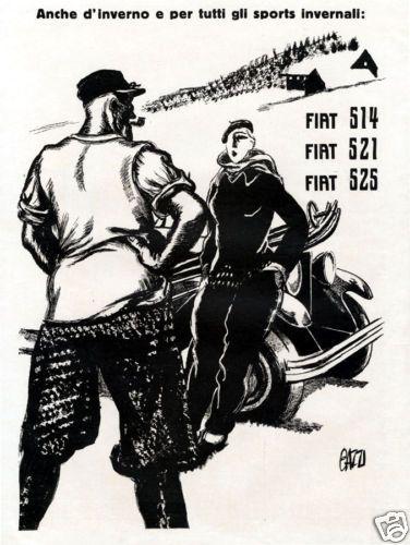 Mario Bazzi FIAT 514 521 525 vacanza sci moda 1930 MONTAGNA