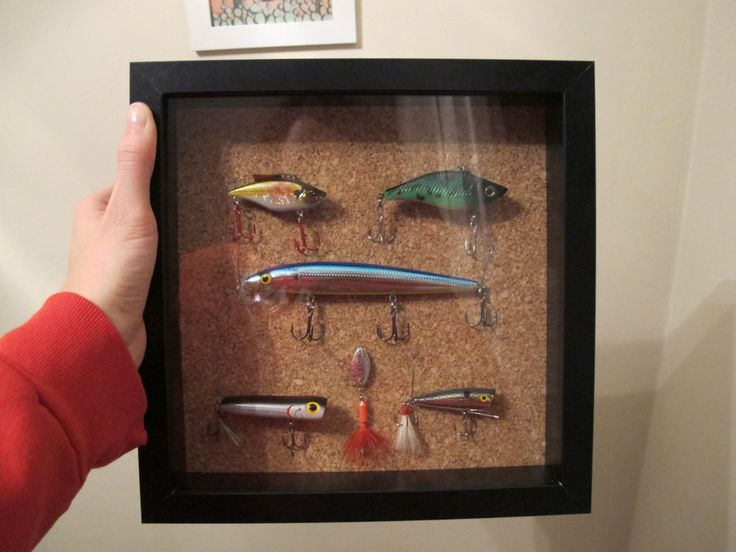 craft shadow box fishing lure fisherman art✖️More Pins Like This One At FOSTERGINGER @ Pinterest✖️