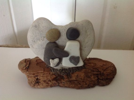 Bride and Groom Wedding gift Beach stone art by MossBetweenMyToes