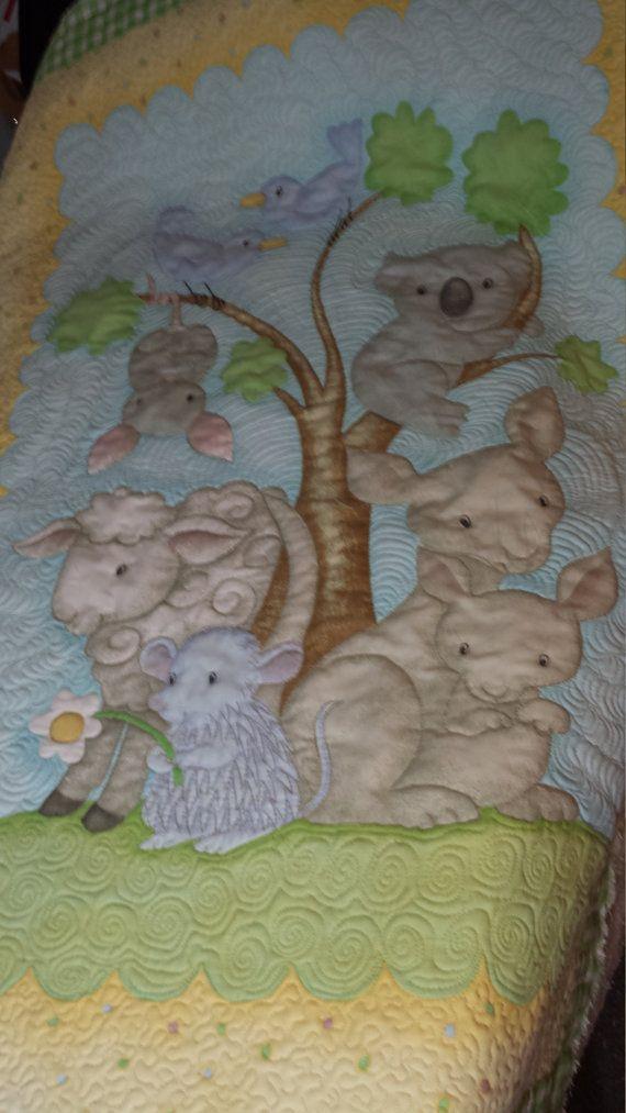 Baby Quilt Australian Animal Friends by QuiltfairyKaren on Etsy