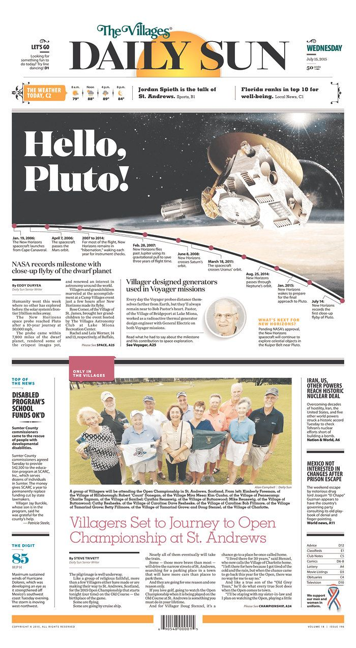 The Villages (Fla.) Daily Sun for July 15, 2015, via Today's Front Pages   Newseum #newsdesign #newspapers
