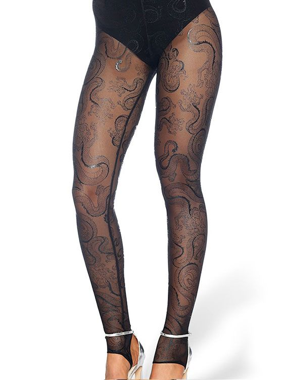 Tatsu Black Stirrup Hosiery - LIMITED (AU $40AUD / US $30USD) by Black Milk Clothing
