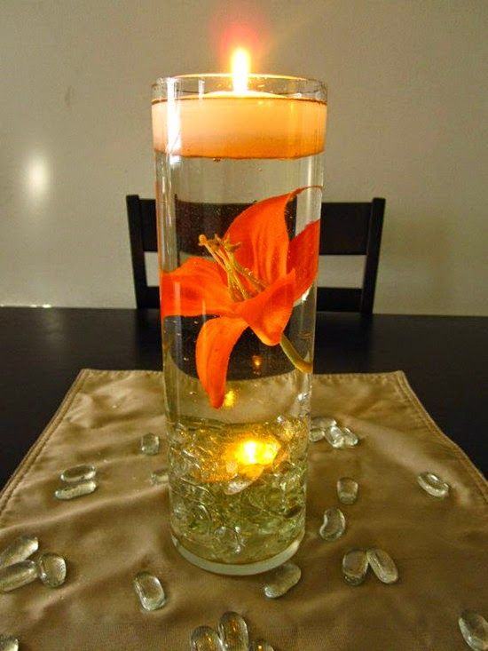 Floating candle wedding centerpiece table decoration ideas for Orange centerpieces for tables