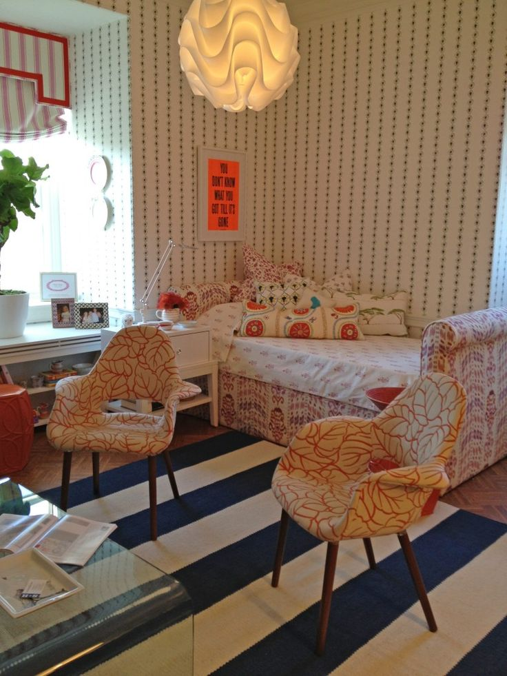 Sleigh Bed by Mally Skok | Chez Elza, chic kids room, stripe rug, eclectic mix
