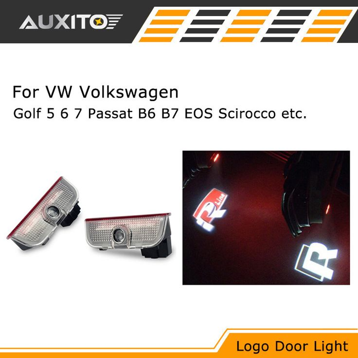 LED Door Warning Light Logo Projector lamp FOR VW Golf 5 6 7 Jetta MK5 MK6 CC Tiguan Passat B6 b7 Scirocco With VW R R line logo