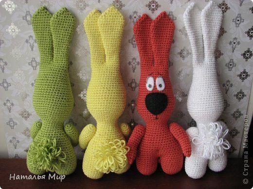 Игрушка Вязание крючком зайцы+описание Нитки фото 2