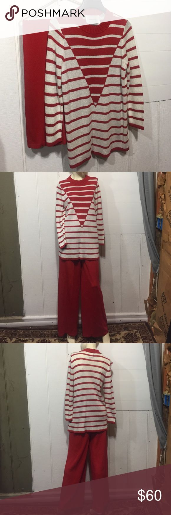 •Vintage Bravissimo OUTFIT• Vintage, Bravissimo brand outfit! Includes top and bottoms. ✨NWOT!✨ Purchased by my Aunt in the 80's in NYC. Never worn. Been in her closet ever since. Red/white. Mannequin is about 5'8 for reference. TOP: Size MEDIUM. PANTS: High-waisted. Size large. Fabric hangers inside. Elastic waistband. BOTH: Brand NWOT. 55% rayon 34% acrylic 11% nylon. Dry clean only. Made in Mexico. Bravissimo Other