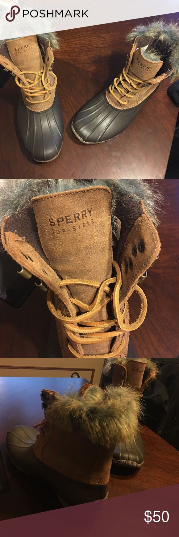 Brown sperry winter boots These boots are in great condition and have only been worn once. They are very comfortable especially with the fur. Great for the cold weather Sperry Shoes Winter & Rain Boots