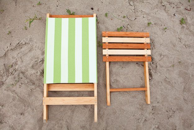 Folding beach chair Don't let the fabric scare you away from this chair—no needle and thread needed! - you can do that in tiny <3