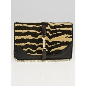 Pre-owned Gucci Zebra Print Calf Hair Broadway Evening Bag