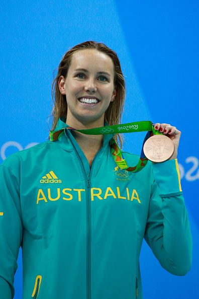 #RIO2016 Bronze medalist Emma McKeon of Australia poses on the podium during the medal ceremony for the Women's 200m Freestyle Final on Day 4 of the Rio 2016...