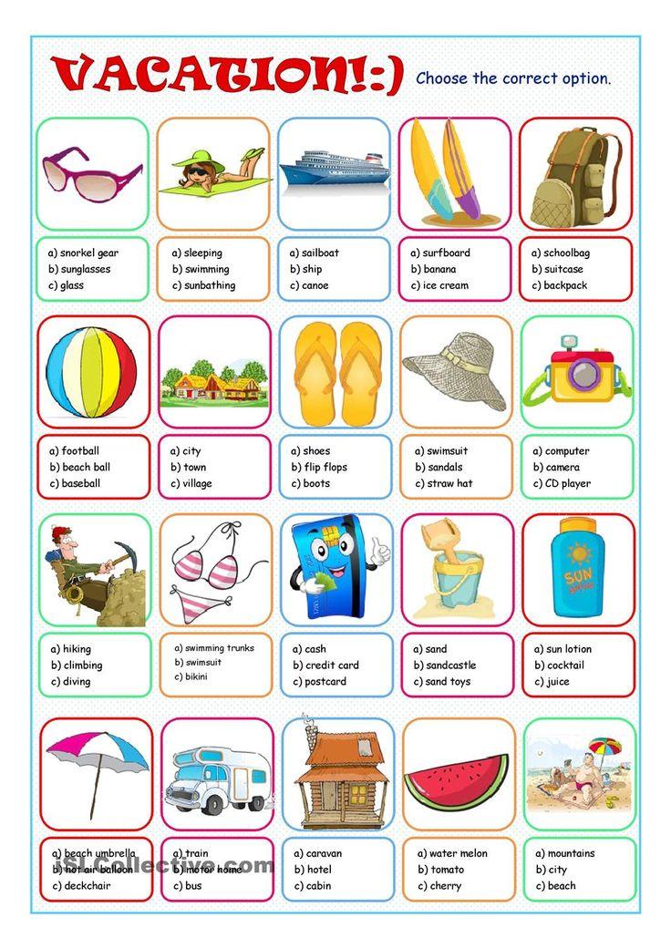 Vacation Multiple Choice Anglais