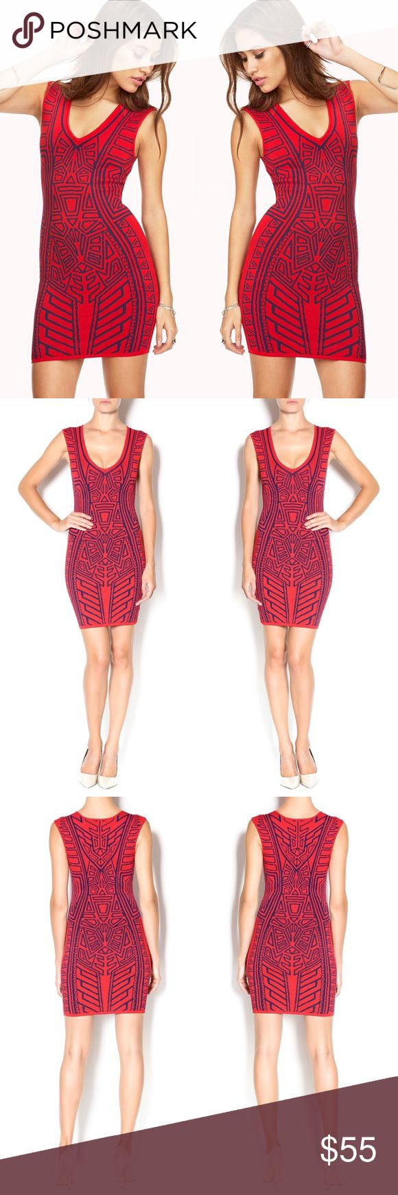 NWOT Ethnic Print Dress Red ethnic printed dress with a black design throughout and a bodycon fit. Stunning statement dress! Wear this dress with lace up heels and a sleek clutch.   Fiber Content: rayon, nylon Forever 21 Dresses Mini