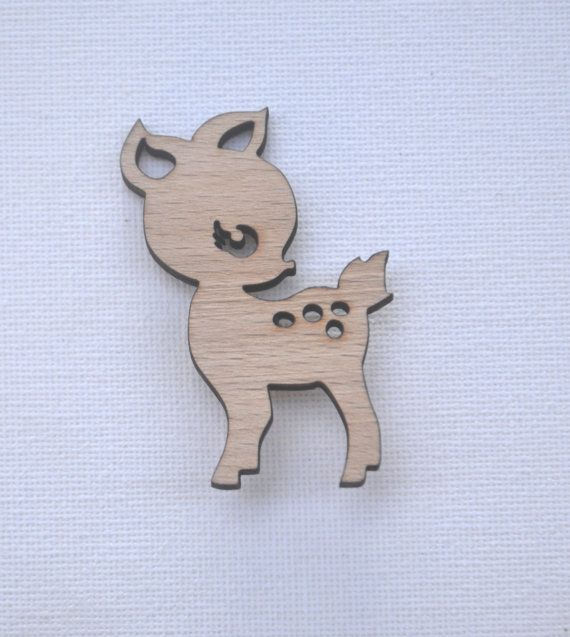 Laser cut wood brooch pin cute deer by FreeSpiritus on Etsy, $10.00