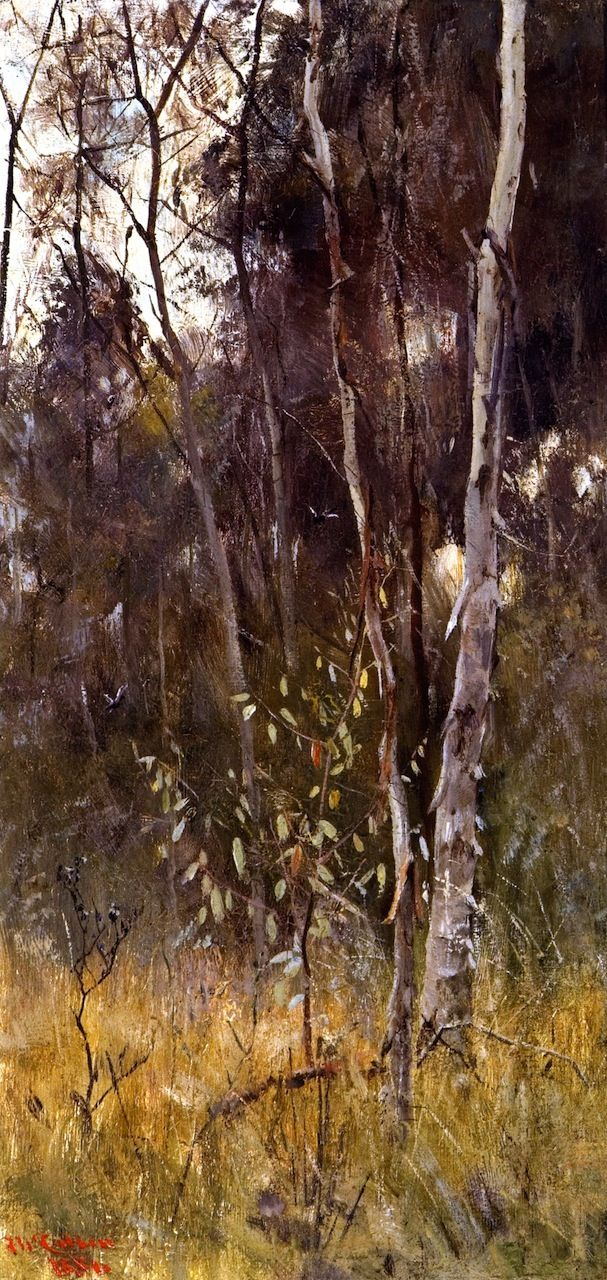 At the Falling of the Year 1886 Frederick McCubbin   (25 February 1855 – 20 December 1917) was an Australian painter who was prominent in the Heidelberg School, one of the more important periods in Australia's visual arts history.)