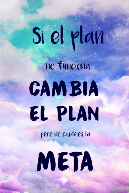 Si el plan no funciona cambia el plan pero no la meta