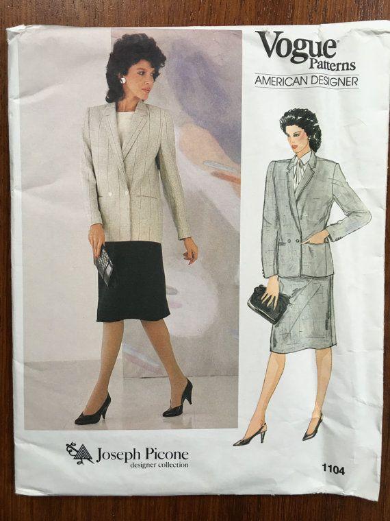 Size 14 Vogue American Designer 1104;  ca. 1983; Joseph Picone - Misses' Jacket and Skirt. FF Uncut 1980s shoulder pads, power dressing,  Etsy weseatree patterns 1980s