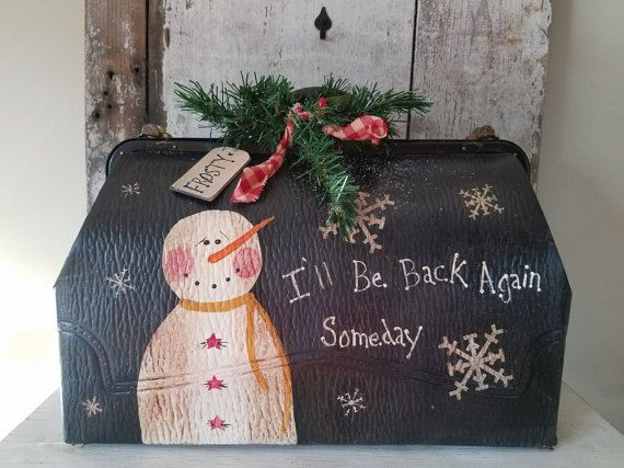 Frosty I'll Be Back Again Someday Painted Snowman by FlatHillGoods