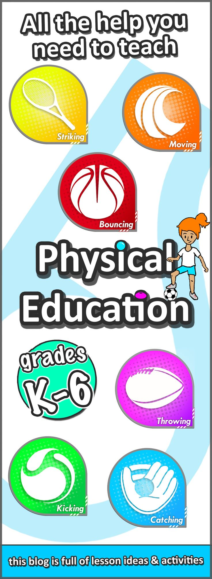 PE lesson ideas, how to teach sport skills, and game plans for your grades K-6 at elementary school - Check them out now!