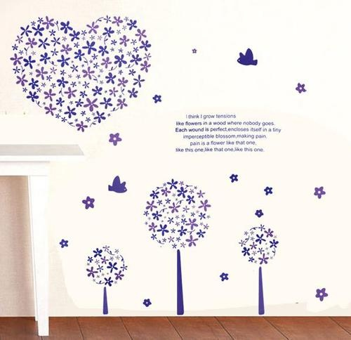 Purple flowers heart, birds and trees  wall stickers