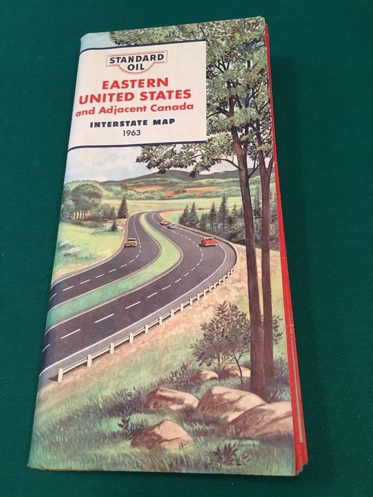 Vintage 1963 Standard Oil EASTERN UNITED STATES & Adjacent Canada Interstate Map