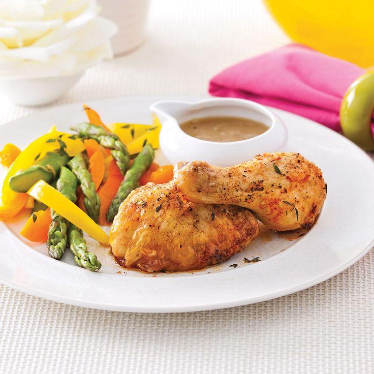 Une recette hyper simple et rapide pour des cuisses de poulet au fourvraiment délicieuses!