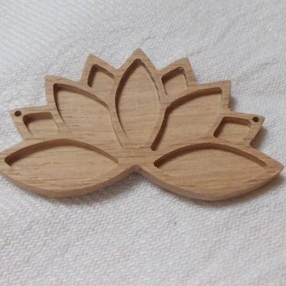 1 p unfinished wooden lotus flower,lotus flower pendant base,lotus necklace tray,wooden jewelry setting,wooden resin tray,jewelry making  www.artwoodenstuff.com