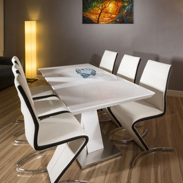 6 Seat Dining Set White Gloss Z Chair. £999 Extendable Dining Table 8 / 10 Seater  Seat Table Dining Table Dining Room Large Products Furniture Fabrics ...