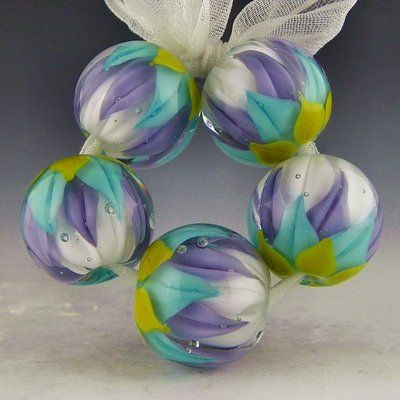 polychrome beads lampwork larkspur lotus set 5 blue purple white lotus beads ebay