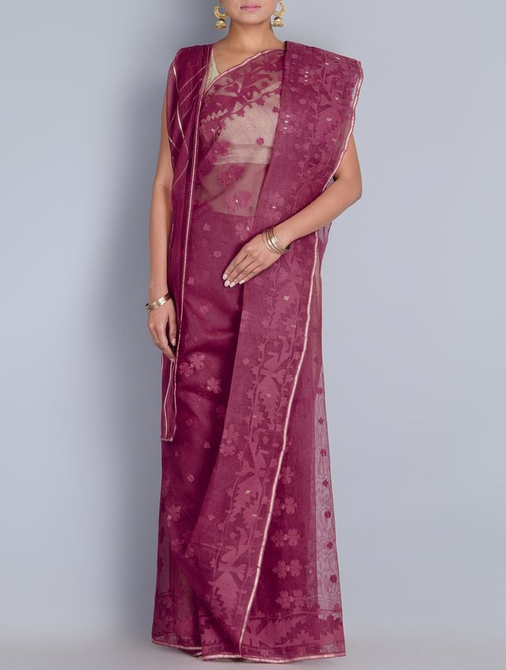 Buy Magenta Cotton Zari Dhakai Jamdani Saree Sarees Woven Wondrous in Online at Jaypore.com