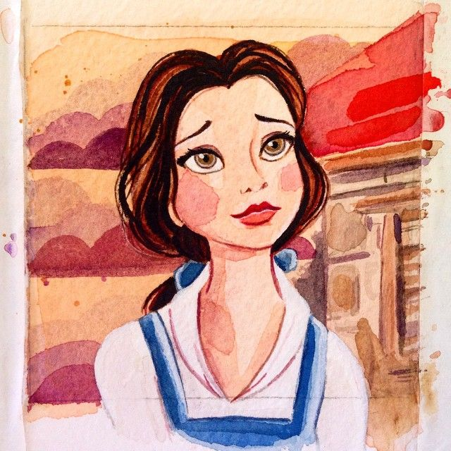 """Little Watercolor Belle... finally!! 3x3"". I'll post her in her frame later on :)"""