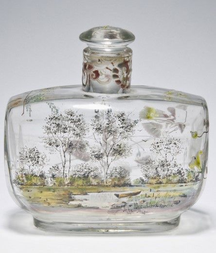 Scent Bottle and Stopper Émile Gallé, French, 1846 - 1904, Made in Nancy, France, c1880-1885. Free-blown glass with enamel decoration