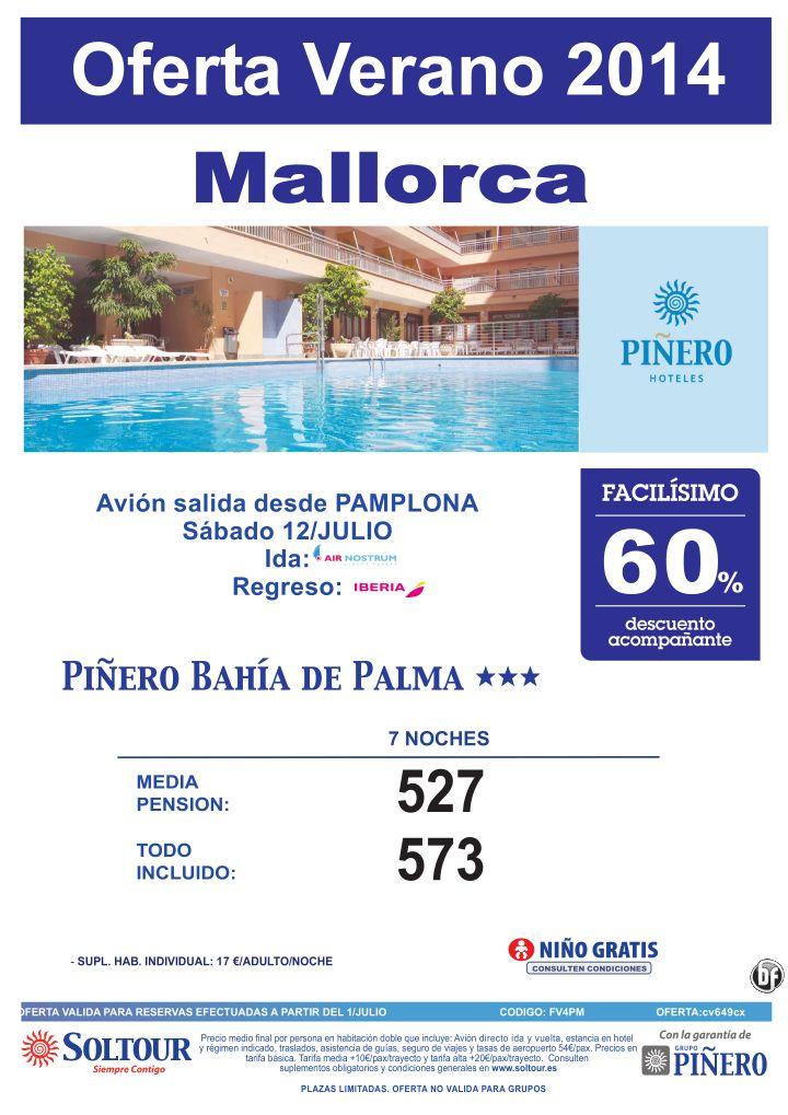 Mallorca, 60% Dto.Acompañante, Hotel Piñero Bahía de Palma, salida 12 Julio desde Pamplona ultimo minuto - http://zocotours.com/mallorca-60-dto-acompanante-hotel-pinero-bahia-de-palma-salida-12-julio-desde-pamplona-ultimo-minuto/