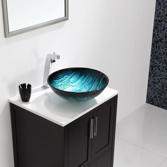 Kraus Gv39919mm 17 Inch Ladon Glass Vessel Sink With 6 Inch Bowl