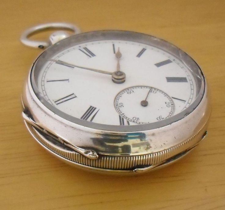 Antique Silver Pocket Watch 1876 Plata Reloj de Bolsillo Antiguo Silber Argent