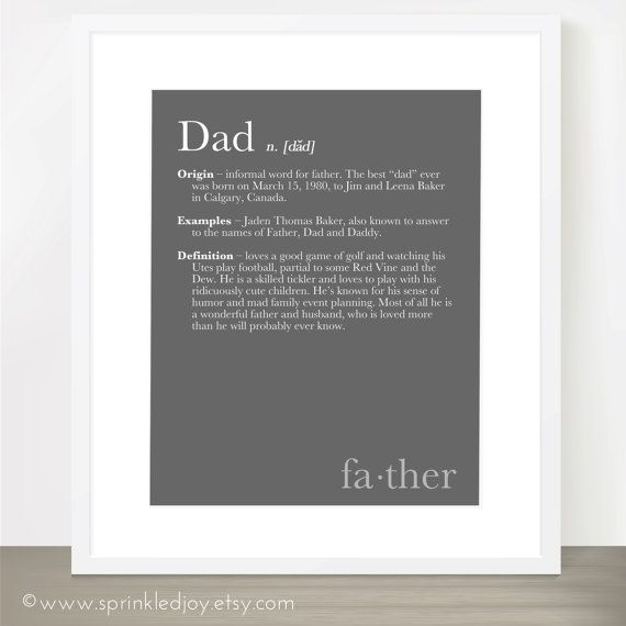 DAD DEFINITION Print  Dictionary Inspired Print by SprinkledJoy