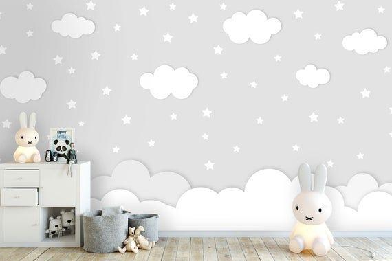 Sets of 25 Stars Baby Pink Light Pastel Wall Decals Decor Stickers Nursery Girl Sky Pattern Modern /& Scandinavian