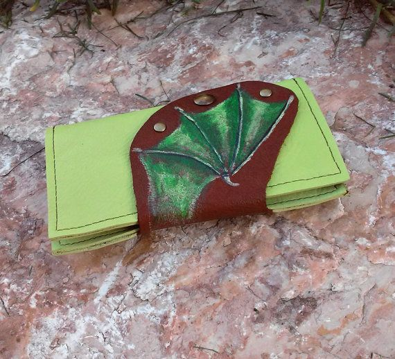 Dragonwing leather phonecase, green dragon wing smart phone case, dragon genuine leather phone case, card holder, iPhone 5 fantasy phonecase