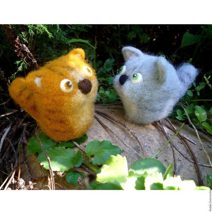 Купить Два кота в корзинке - комбинированный, рыжий кот, серый кот, котики, коты
