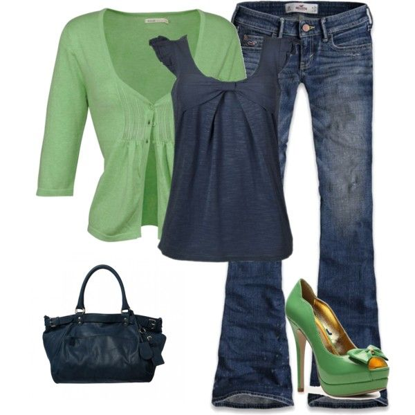 Love it~: Green Shoes, Fashion, Casual Friday, Navy Outfit, Style, Blue, Color Combination