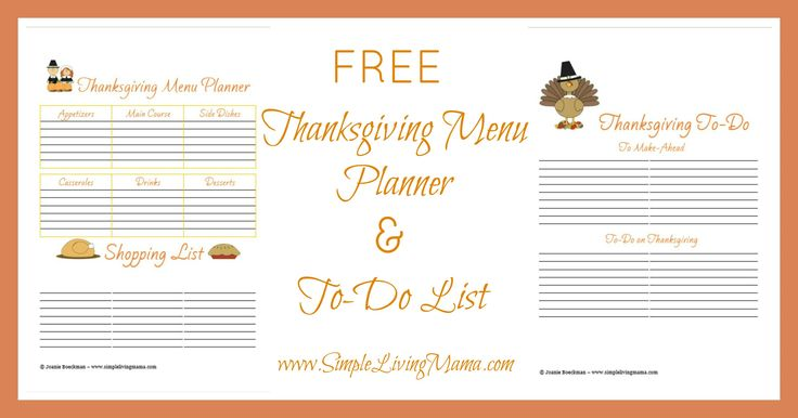 FREE Printable Thanksgiving Menu Planner